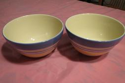 2 soup cereal bowls summer breeze scalloped