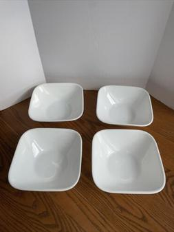 4 Corelle White Square 6 3/8 Inch Soup or Cereal Bowls
