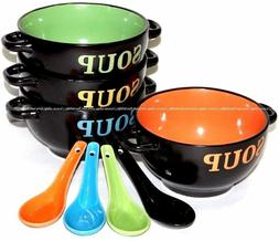 4x Ceramic Soup Bowls Dinner Lunch Breakfast Cereal Bowl w/