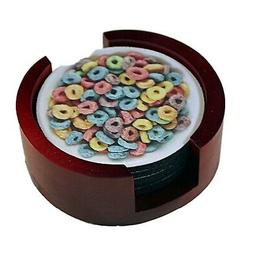 Cereal Bowl Round Coasters  with Wood Holder