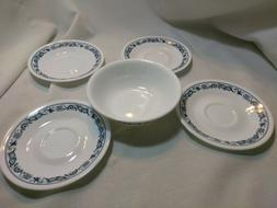 CORELLE OLD TOWN NAVY BLUE ONION  SAUCER SOUP CEREAL BOWL