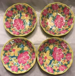 Nicole Miller Pink Yellow Hibiscus Floral Scalloped MELAMINE