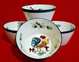 Set of 4 Ceramic Pottery GALLO Rooster Cereal / Soup Bowls M