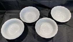 """Set of 4 Pillivuyt """"Queen Anne"""" White Cereal Bowls 6 3/4"""""""