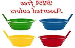 Green Direct Sippy-Bowl 22oz Plastic Bowl with Built in Stra